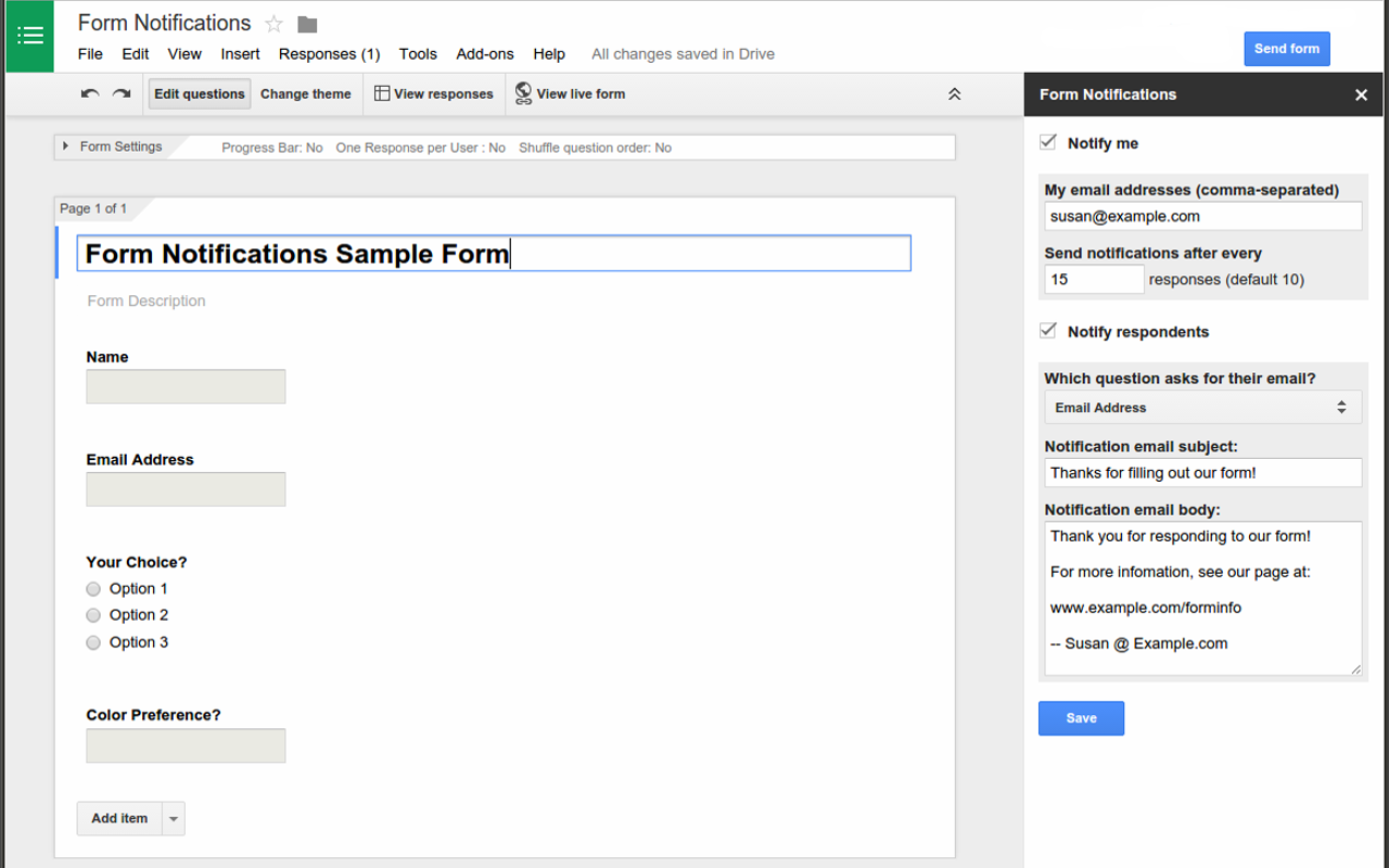 Quickstart: Add-on for Google Forms