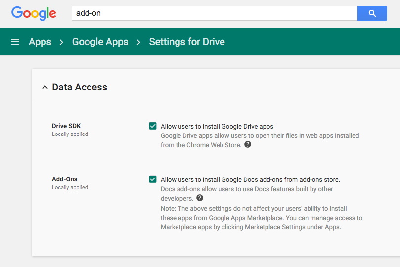 Add ons for your google account from the google apps admin dashboard