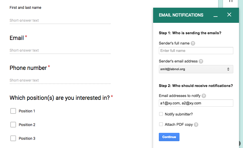 how to add a google form to an email