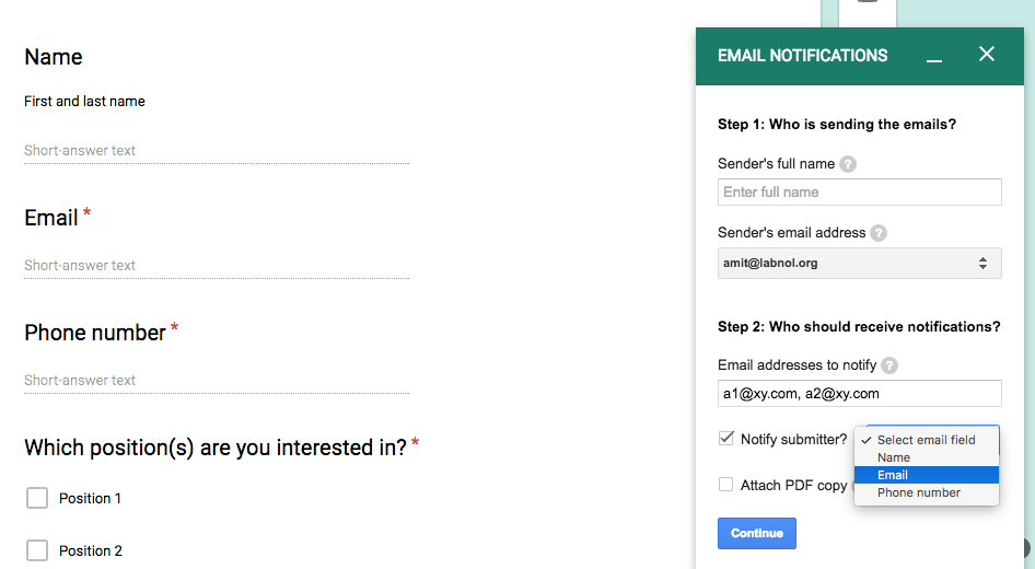 Notify Google Forms Submitter