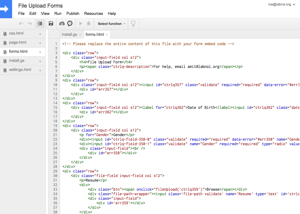 google forms html code