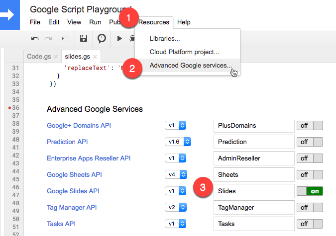 using the google slides api with apps script for document merge