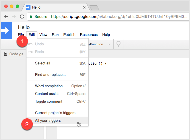 faf176d2d2dd ... to launch the Google Apps Script Editor. You need to sign-in with the  same Google Account that is receiving the email notification errors.