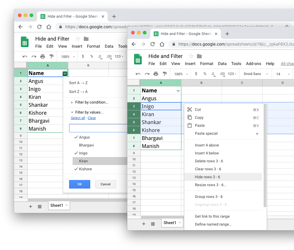 How To Get Hidden And Filtered Rows In Google Sheets With